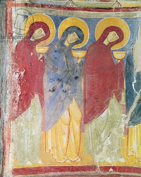The Wise Virgins, left wall, c.1200-10 (fresco)