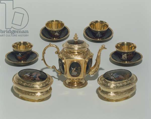 Tea service with chinoiserie, Augsburg, c.1708-1710 (silver gilt)
