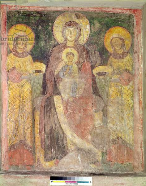 Madonna and Child between St. Pudentiana and St. Praxedes, west wall of the Marian Oratory, c.1080 (fresco)