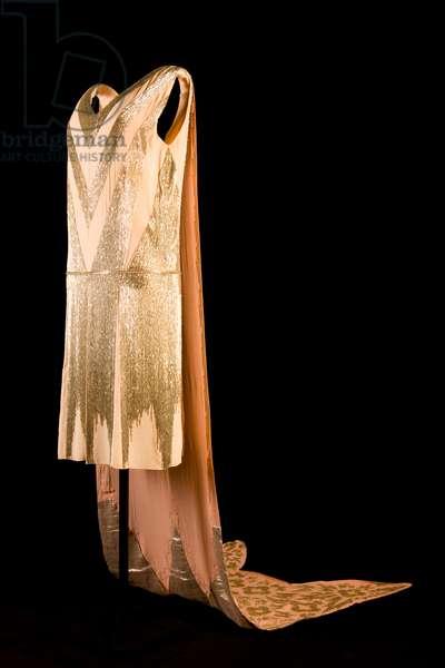 Court dress, 1928 (silk georgette & bugle beads)