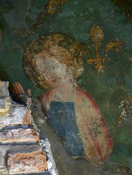 St John the Evangelist, detail of the Byward Tower mural, 1390s (wall painting)