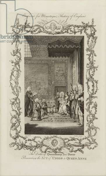 Presenting the Act of Union to Queen Anne, 1771 (engraving)