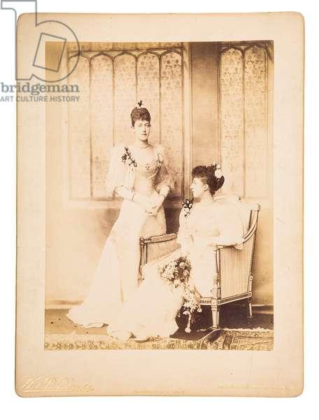 Princess Victoria and Princess Maud, 1893 (b/w photo)