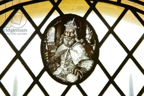 Window depicting Carolus Merito (stained glass)