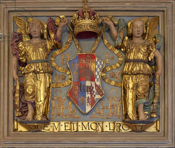 Jane Seymour's coat of arms outside the entrance to the Chapel Royal in the North Cloister (polychrome wood)
