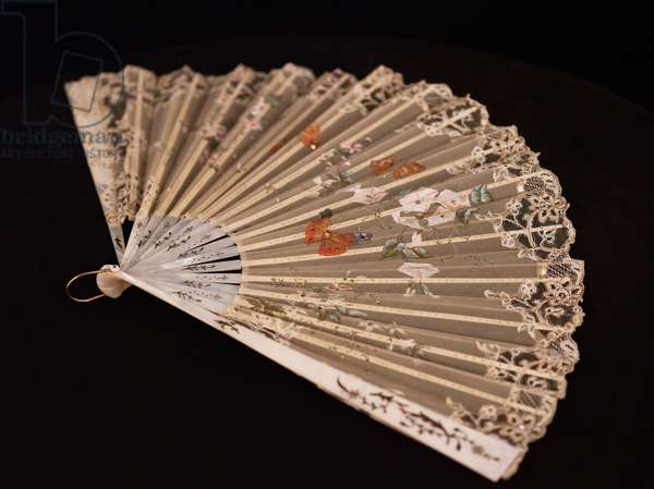 Hand-painted fan, c.1880 (painted gauze with mother-of-pearl sticks)