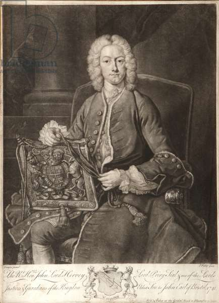 Rt Hon John Lord Hervey of Ickworth, 1741 (mezzotint)