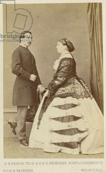 Prince Frances, Duke of Teck and Princess Mary Adelaide, Duchess of Teck, 1866 (b/w photo)