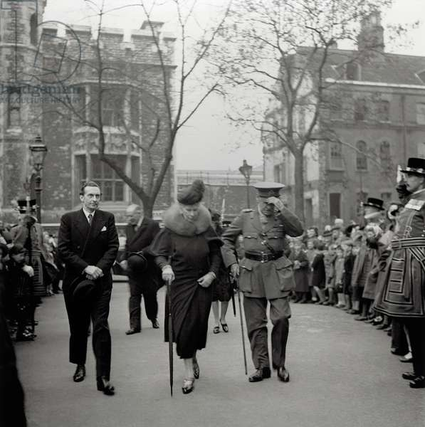 Queen Mary visits the Tower (b/w photo)