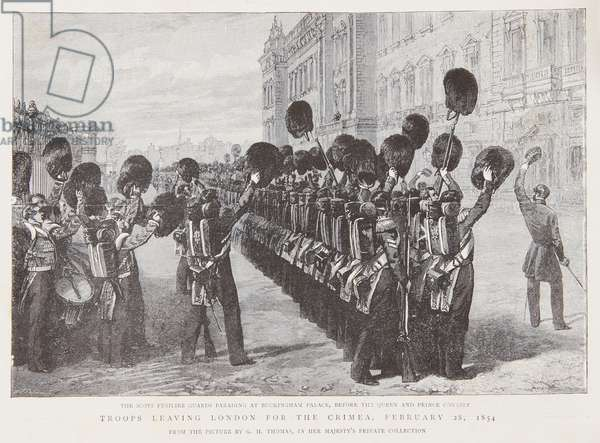The farewell to the Scots Fusilier Guards at Buckingham Palace, 1854