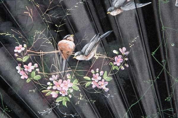 Black silk fan, 1890-1900