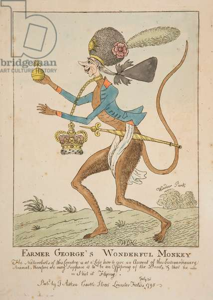 Farmer George's Wonderful Monkey, 1795 (coloured engraving)