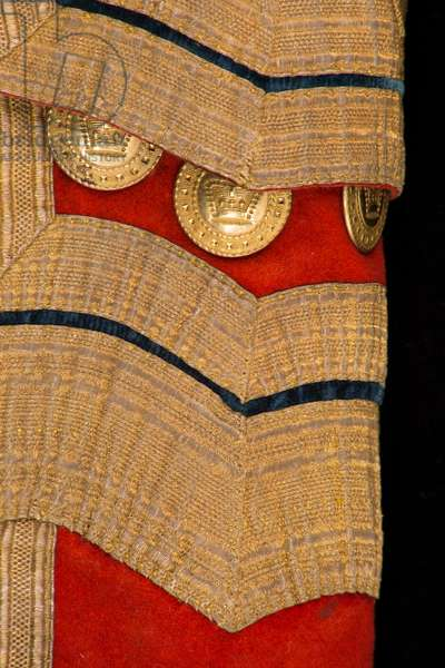 Detail of a Royal Household livery coat, c.1817 (red fabric with gold braid & gilt buttons)