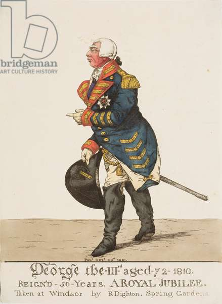George III aged 72, 1810 (coloured engraving)