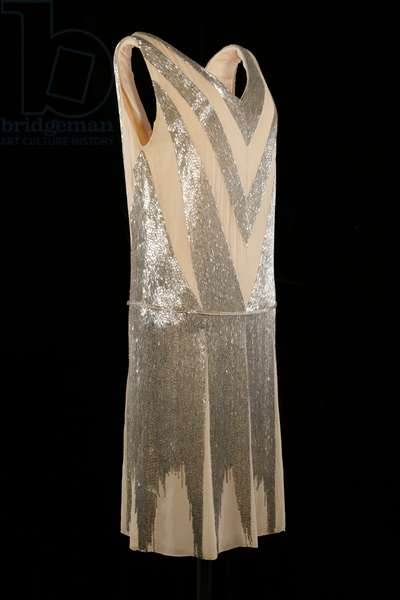 Court dress, c.1928 (silk georgette with silver bugle beads)