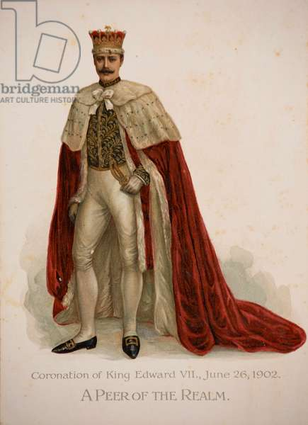 A Peer of the Realm in his coronation robes, 1902 (colour litho)