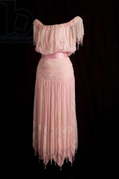 Diana, Princess of Wales evening dress, 1985 (silk chiffon & satin with bead trimming)