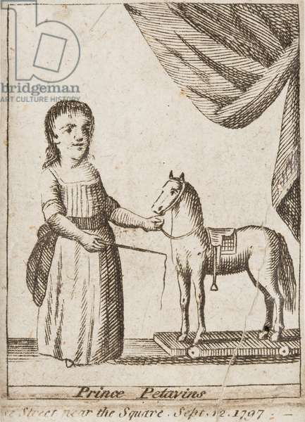 Prince Petavins (Octavius) with a hobby horse, 1797 (engraving)
