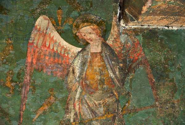 St Michael the Archangel, detail of the Byward Tower mural, 1390s (wall painting)