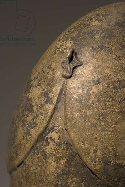 Helmet with phallic applique, Chalcidian, 5th-4th century BC (bronze) (detail of 249035)
