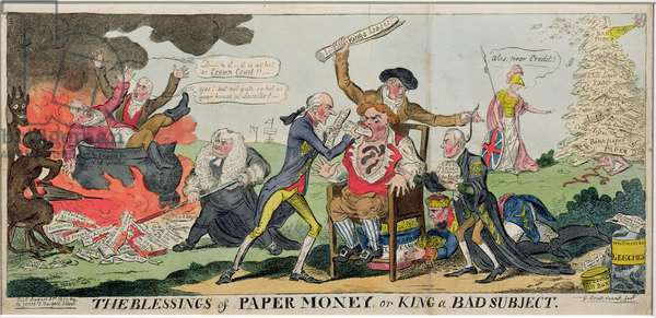 The Blessings of Paper Money or King a Bad Subject, published 1811 (coloured engraving)