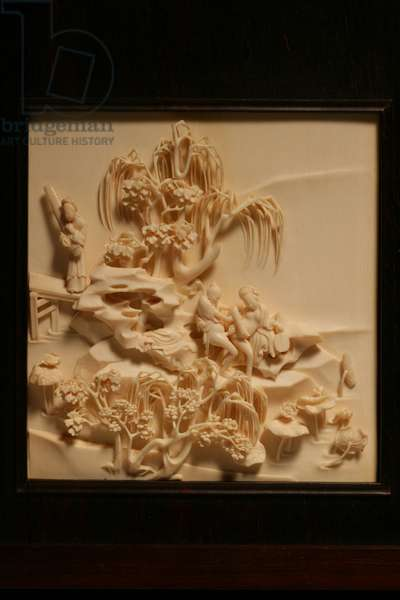 One of a set of carved erotic plaques (ivory)