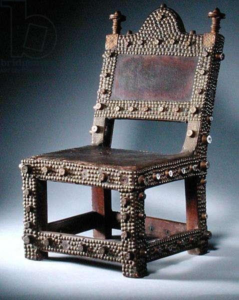 Asante Asipin Chair, from Ghana (wood, tin & nails)