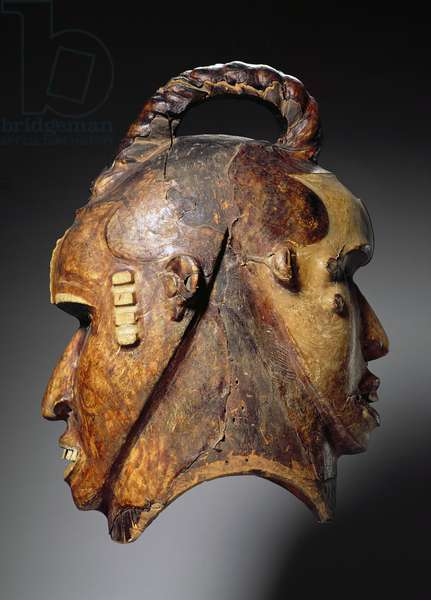 Double-Faced Helmet Mask, Ejagham Culture, from Nigeria or Cameroon (wood, skin, nails & bones) (see also 186313-316)