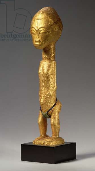Gilded male figure, Baule, Ivory Coast, 20th century (wood and gold foil)