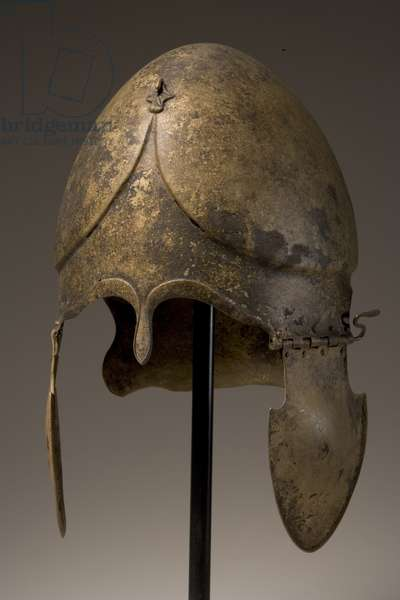 Helmet with phallic applique, Chalcidian, 5th-4th century BC (bronze) (see also 249031 & 35)