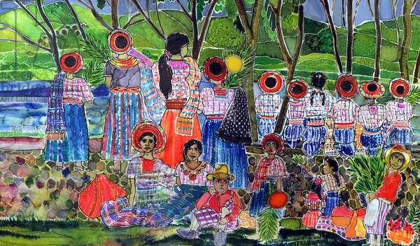 Lake Atitlan, 2005 (dyes on silk)