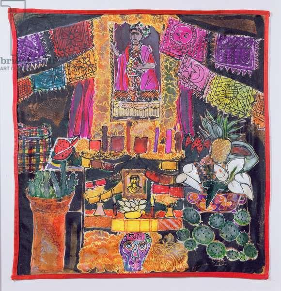 Frida Kahlo (1910-54) Shrine, 2005 (dyes on silk)