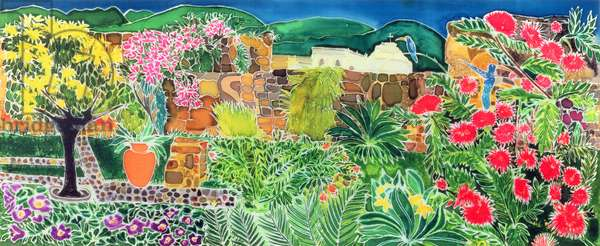 Convent Gardens, Antigua, 1993 (coloured inks on silk)