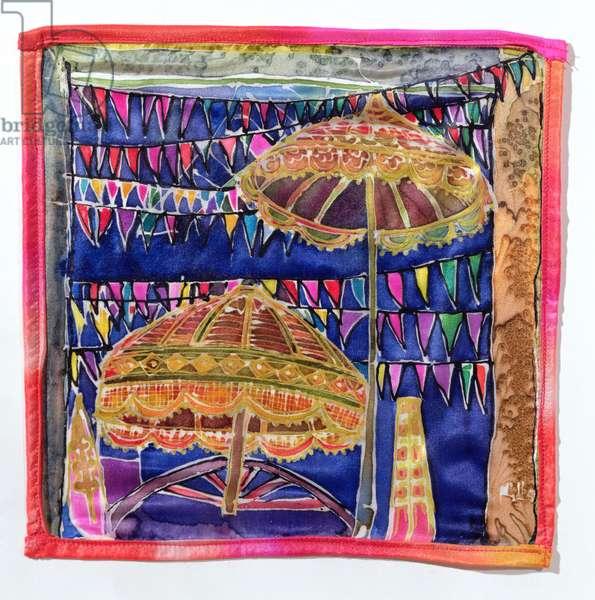 Balinese parasols, 2005 (dyes on silk)