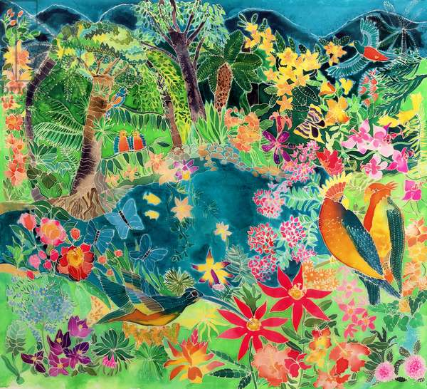 Caribbean Jungle, 1993 (coloured ink on silk)