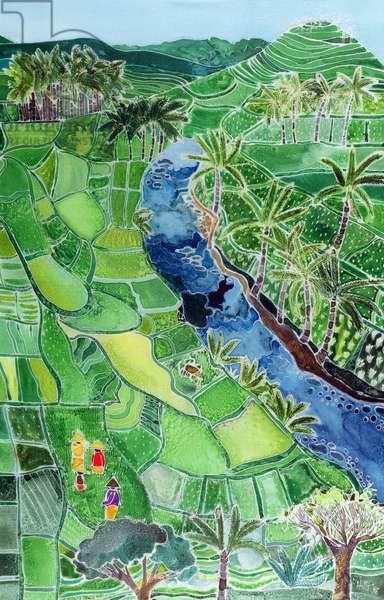 River Agung, Bali, 1996 (coloured inks on silk)