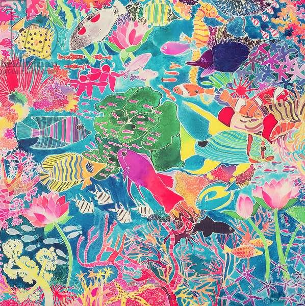 Underwater Rainbow, 1993 (coloured ink on silk)