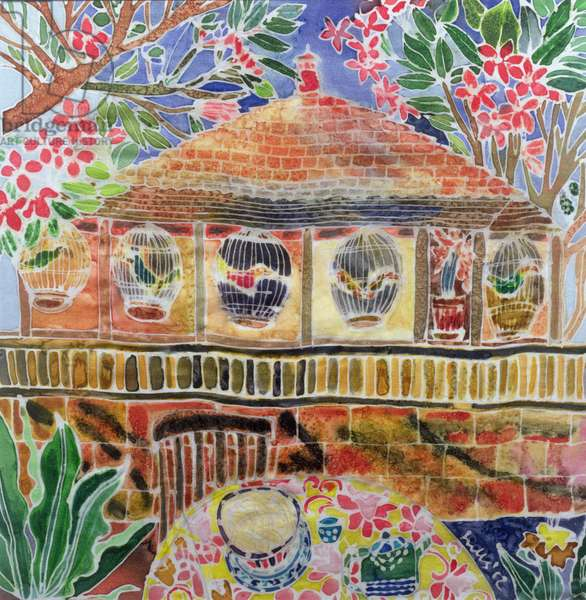 Lotus Cafe, Ubud, Bali, 2002 (coloured ink on silk)