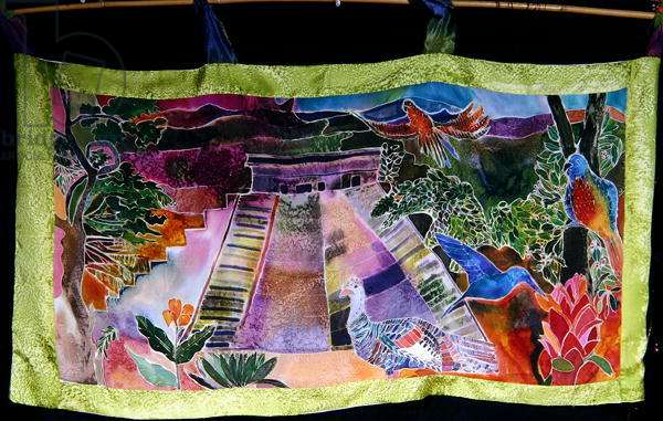 Mayan Temple, 2005 (dyes on silk)