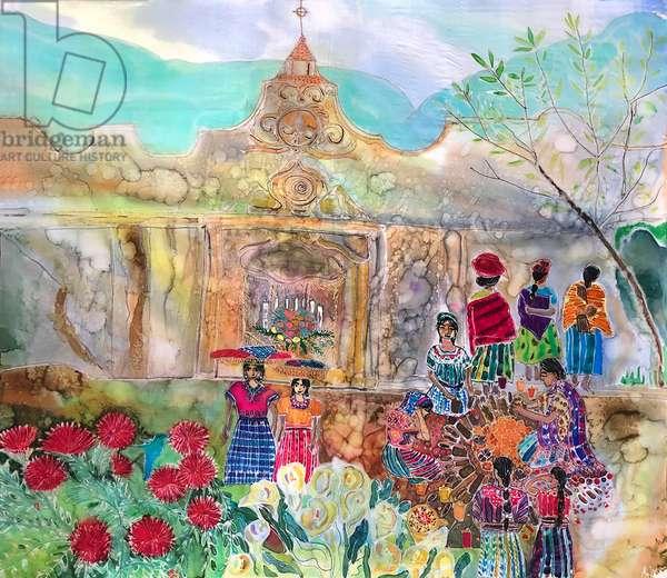 Guatemalan shrine, 2021 (Dyes on silk )