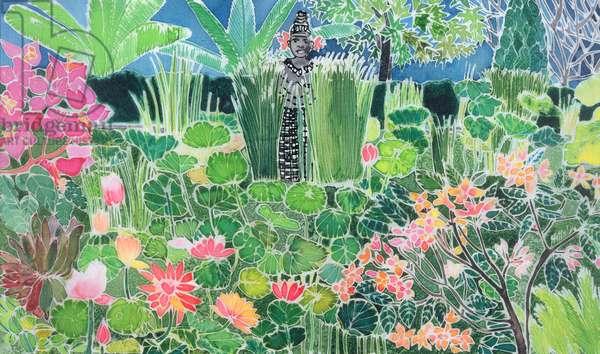 Lotus Pond, Ubud, Bali, 1997 (coloured inks on silk)