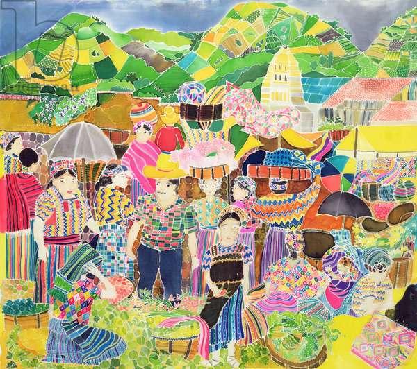 Almolonga Market (coloured inks on silk)