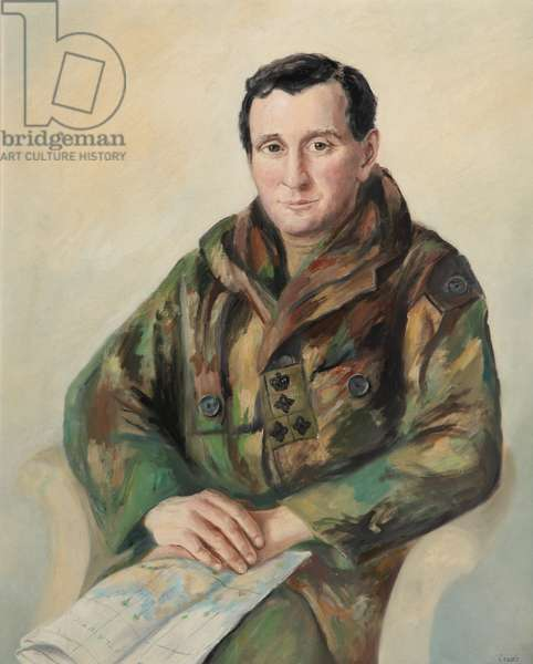 Portrait of a brigadier in combat kit with map, associated with the Falklands War of 1982, 1999 (oil on canvas)