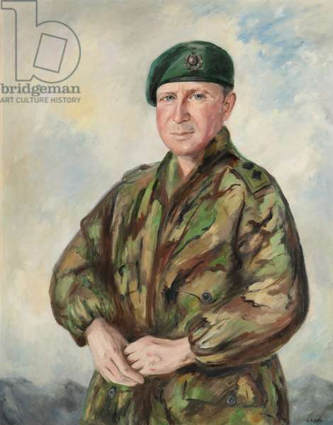 Brigadier Julian Thomson RM in combat kit and beret, 1999 (oil on canvas)
