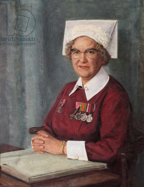 Miss M. E. Alma Hardy, MBE, SRN, SCM, Matron, The Royal Hospital Chelsea (1948-72), 1972 (oil on canvas)