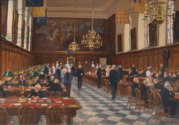 View of the Great Hall, the Royal Hospital Chelsea, 1990 (oil on canvas)