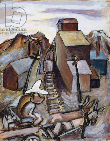 Wagon Crossing the Tracks: The Hat, 1934-38 (gouache on paper)