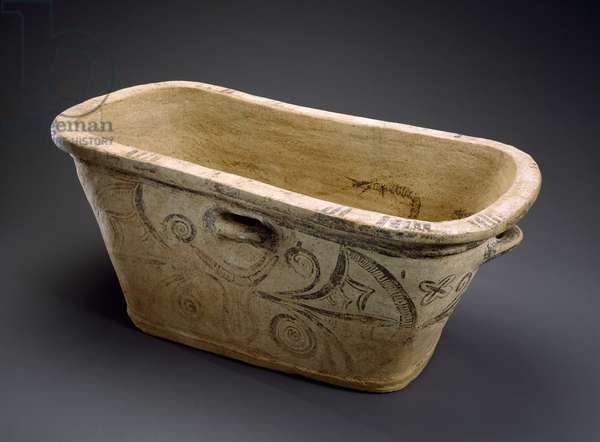 """Larnax (Bathtub and Coffin) or """"ash chest"""", 1600-1100 BC (terracotta & paint)"""