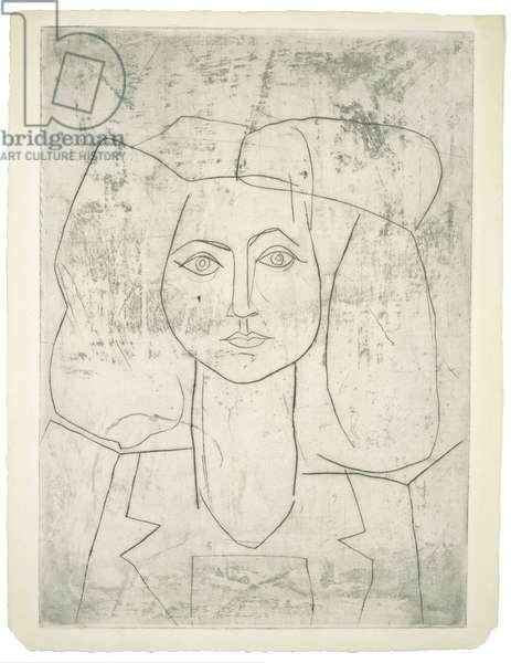 Portrait of Francoise en costume tailleur, c.1946 (drypoint)