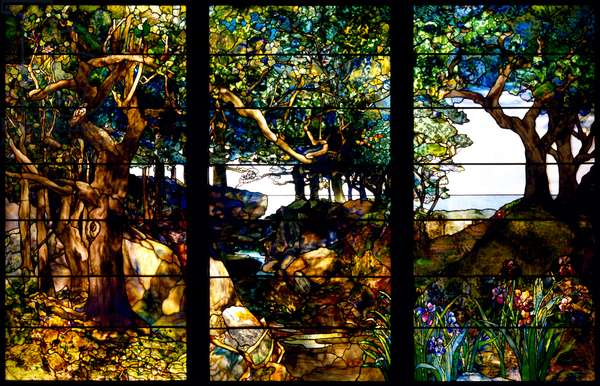 A Wooded Landscape in Three Panels, c.1905 (glass, copper foil, lead and wood)